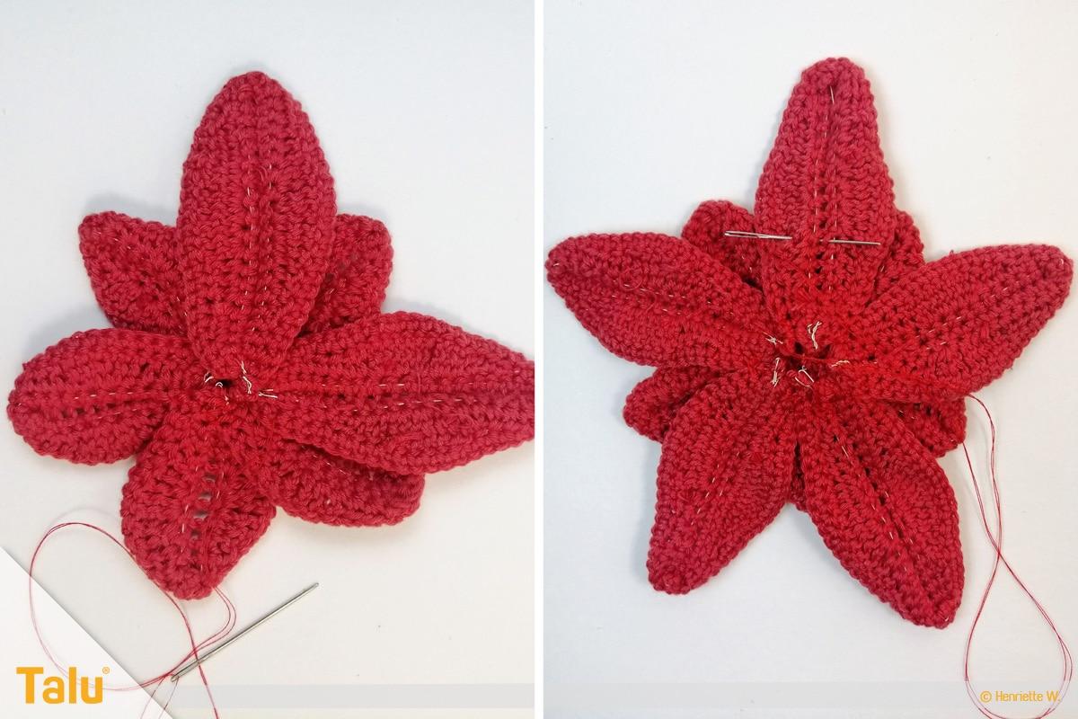 Weihnachtsstern häkeln, weitere rote Blätter für die nächste Lage zusammenbringen