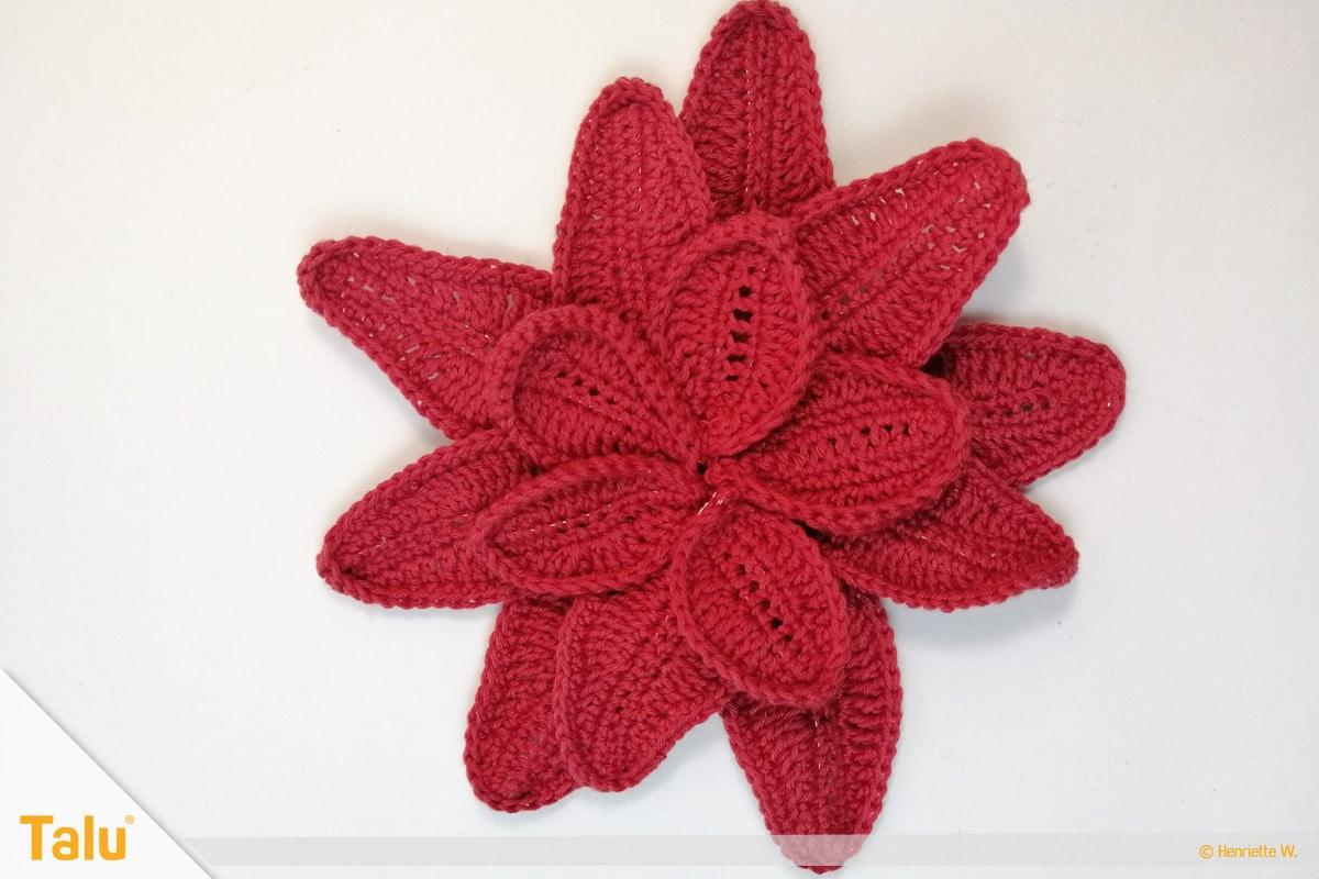 Weihnachtsstern häkeln, zu Blüte zusammengenähte rote Blätter