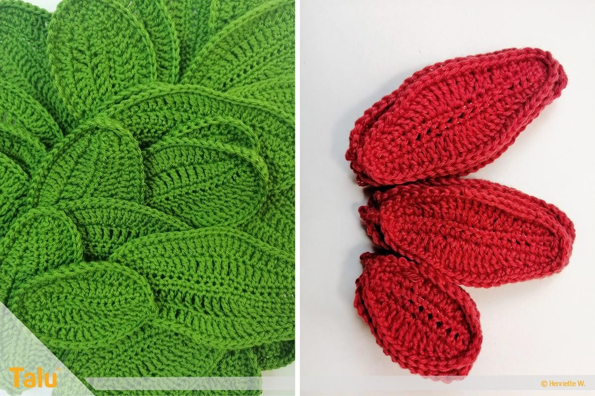 Weihnachtsstern häkeln, gehäkelte grüne und rote Blätter