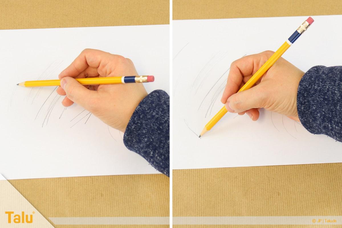 Zeichnen lernen für Anfänger, optimale Bleistiftführung
