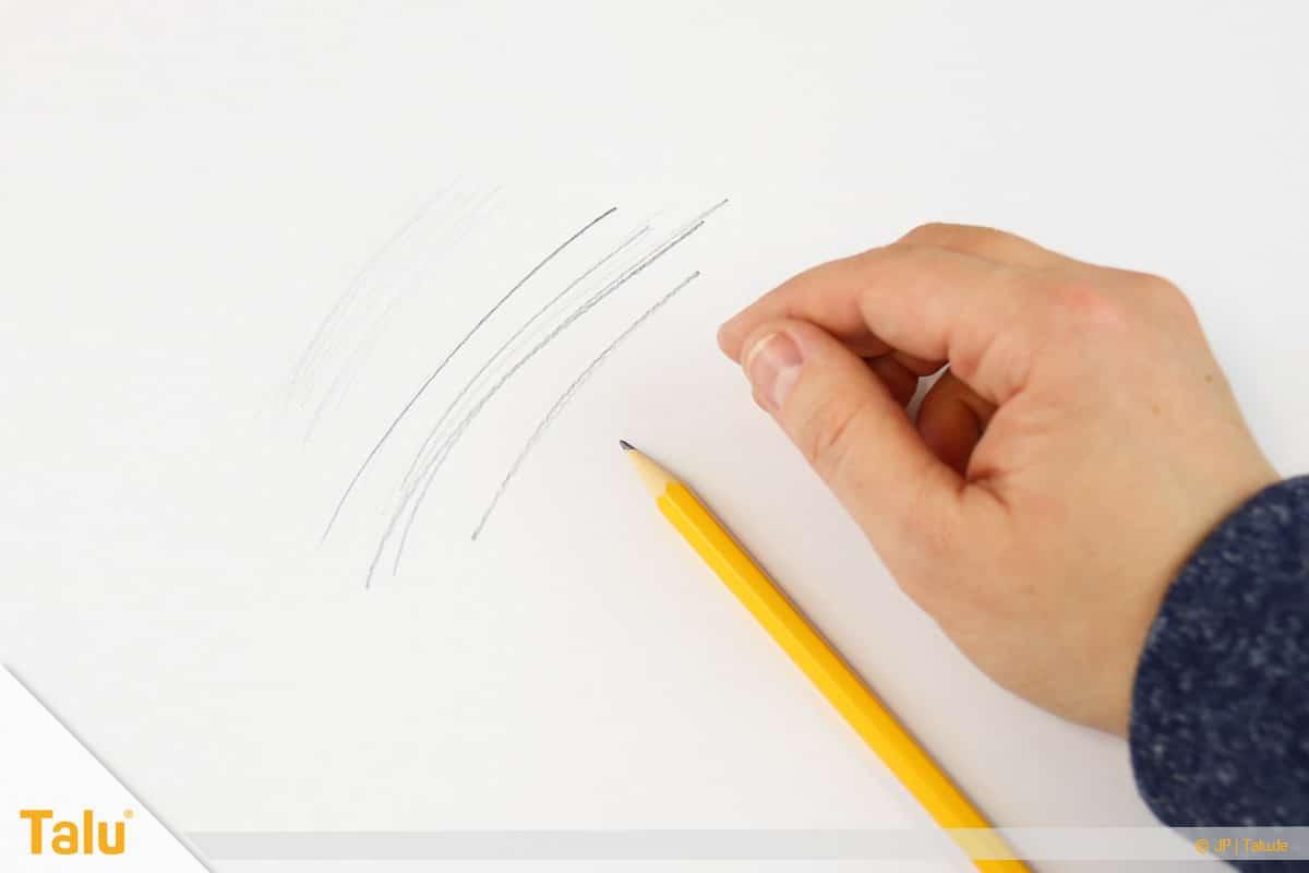 Zeichnen lernen für Anfänger, Bleistift testen