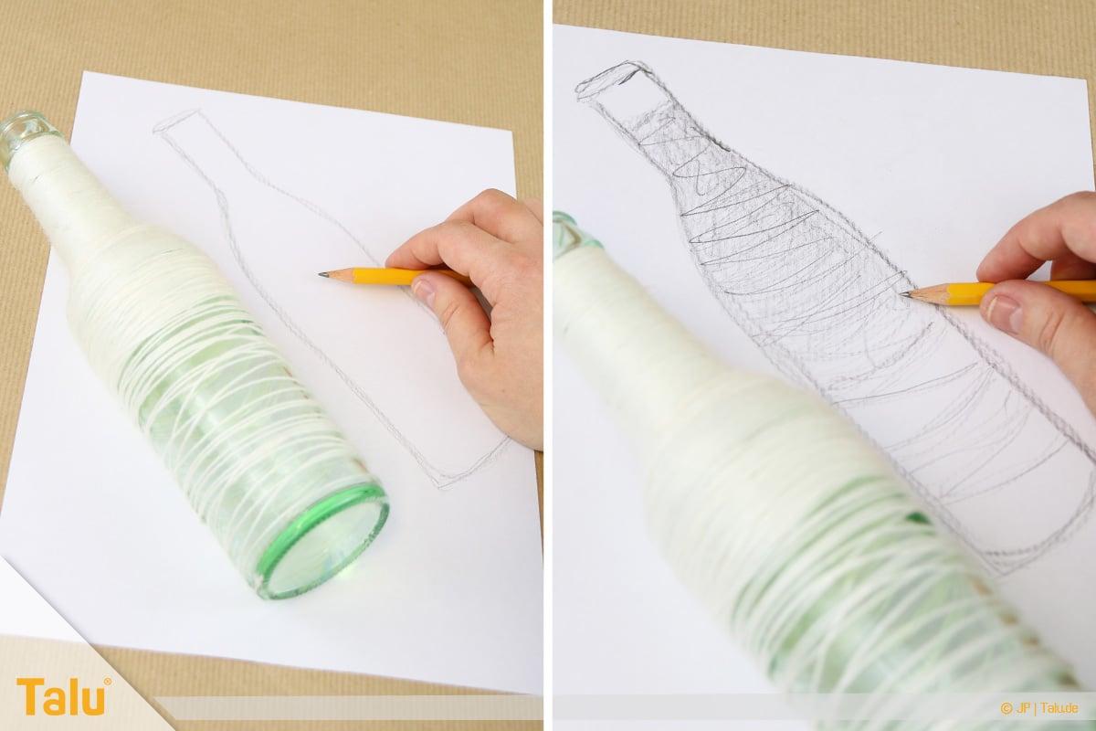 Zeichnen lernen für Anfänger, Freihandzeichnung Flasche liegend