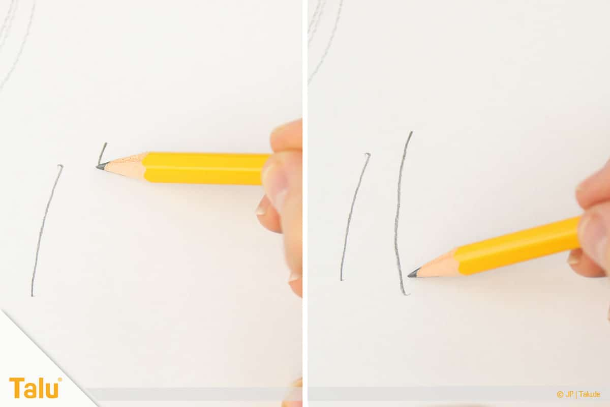 Zeichnen lernen für Anfänger, Linien hin zum Körper zeichnen
