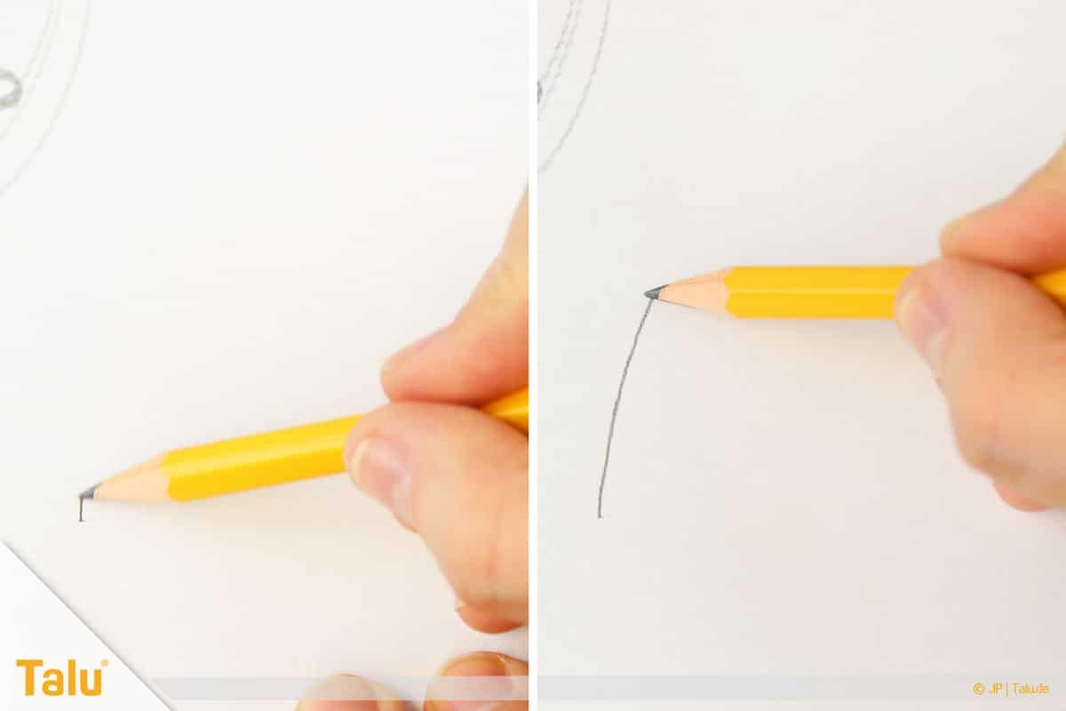Zeichnen lernen für Anfänger, Linien weg vom Körper zeichnen