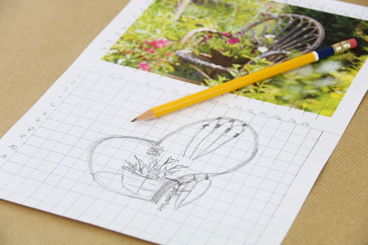 Zeichnen lernen für Anfänger, mit Rastermethode übertragenes Bild