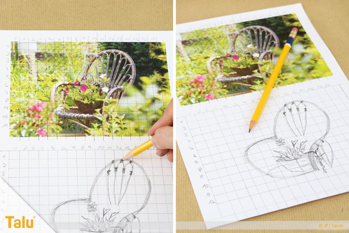 Zeichnen lernen für Anfänger, Rastermethode zur Bildübertragung anwenden