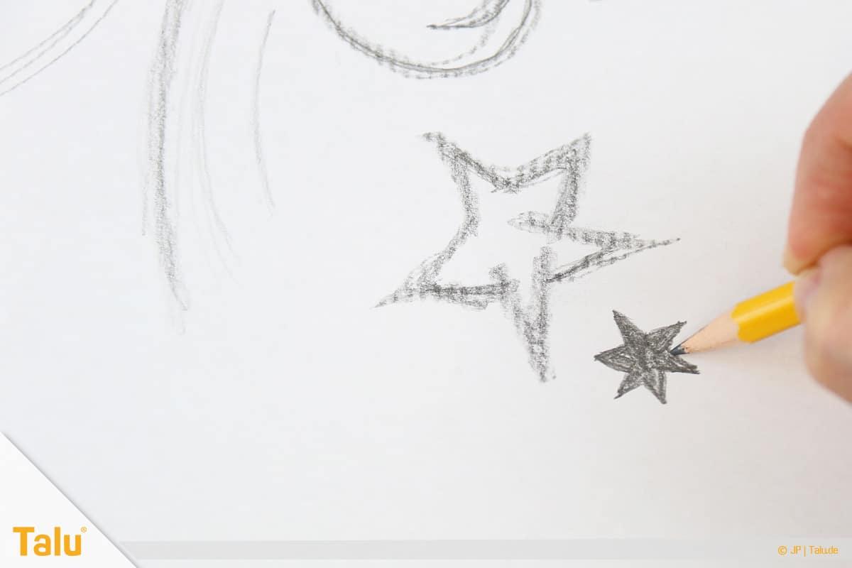 Zeichnen lernen für Anfänger, Sterne mit Bleistift zu Papier bringen