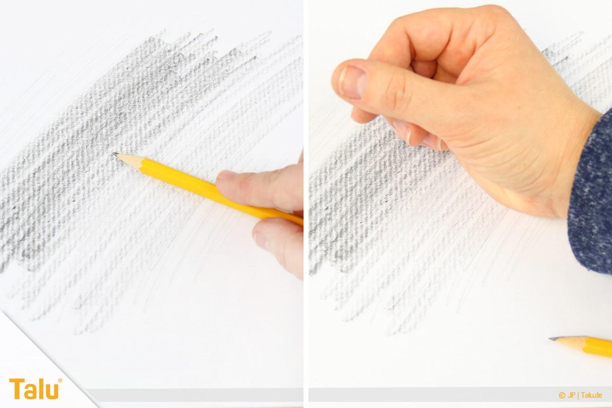 Zeichnen lernen für Anfänger, Blatt schwärzen und Graphit verwischen