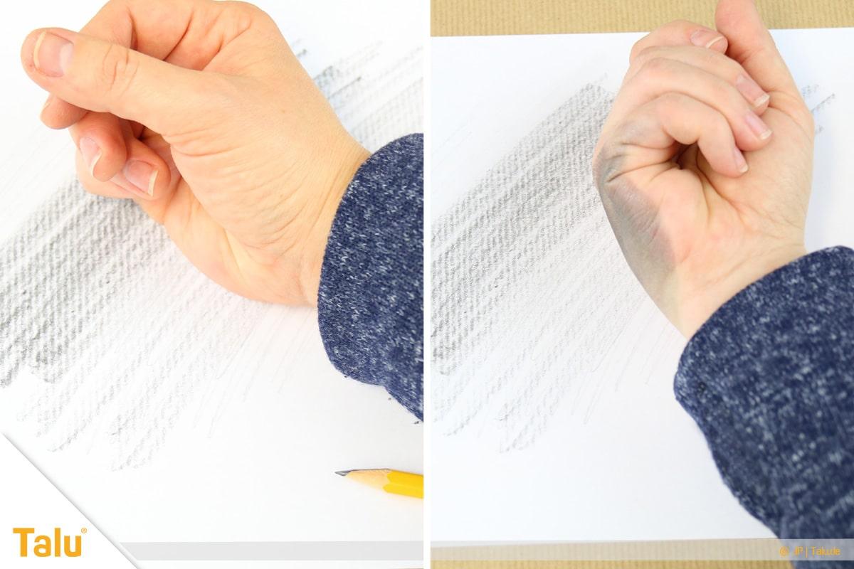Zeichnen lernen für Anfänger, mit Handballen verwischter Bleistift Graphit