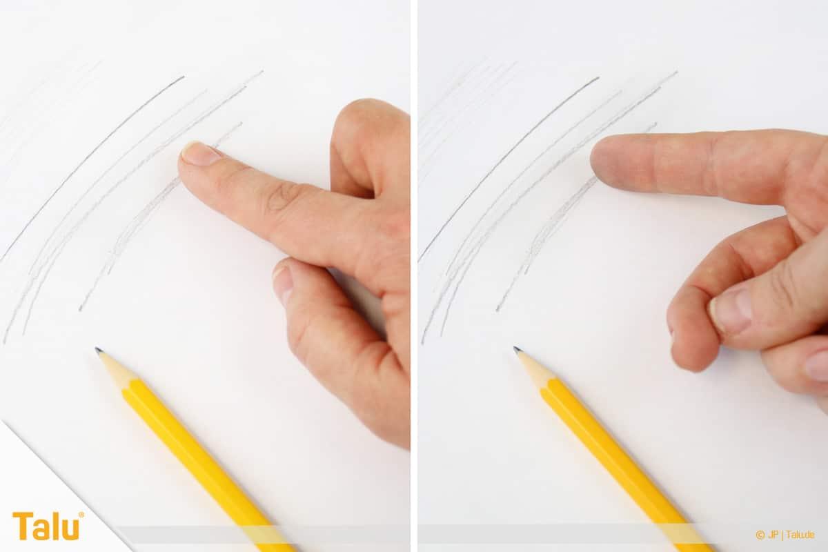 Zeichnen lernen für Anfänger, gemalte Bleistiftlinien verwischen