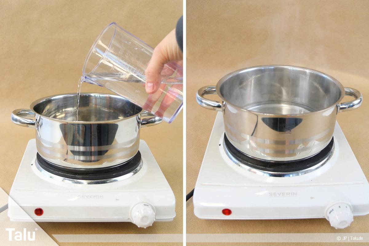 Essbaren Kleber selber machen, CMC-Kleber, Wasser kochen