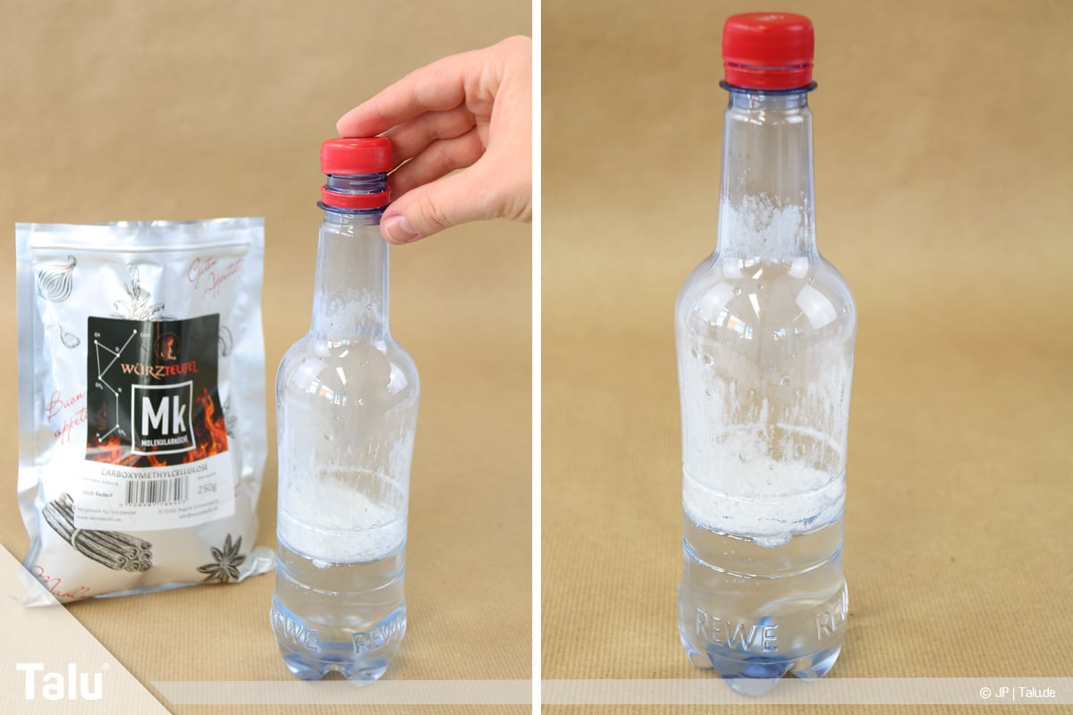 Essbaren Kleber selber machen, CMC-Kleber, Flasche verschließen