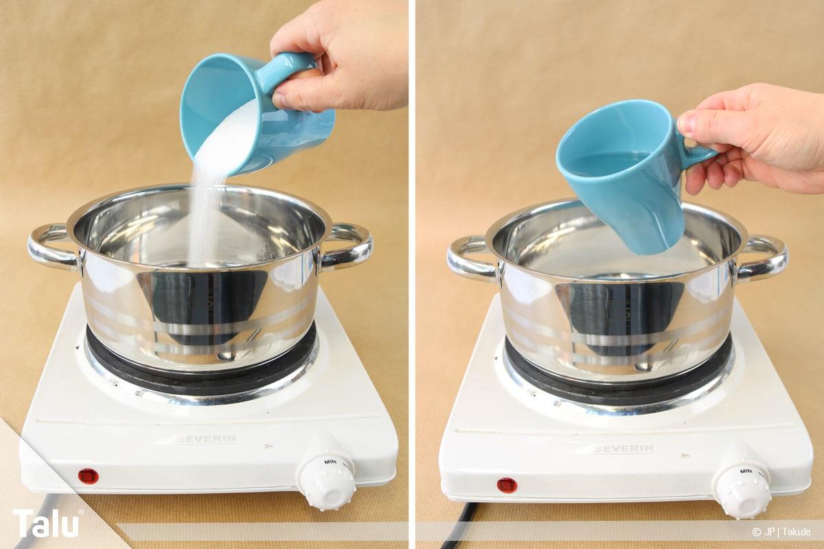 Essbaren Kleber selber machen, Zuckerkleber, Zucker und Salz in Topf geben