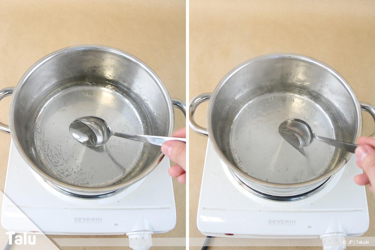 Essbaren Kleber selber machen, Zuckerkleber, Zucker-Wasserlösung aufkochen lassen