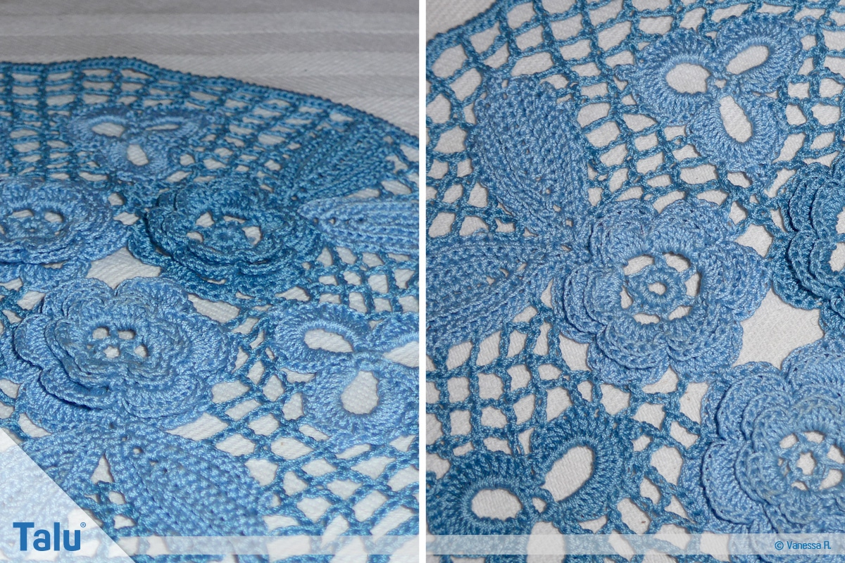 Irisch häkeln, fertig gehäkeltes Deckchen