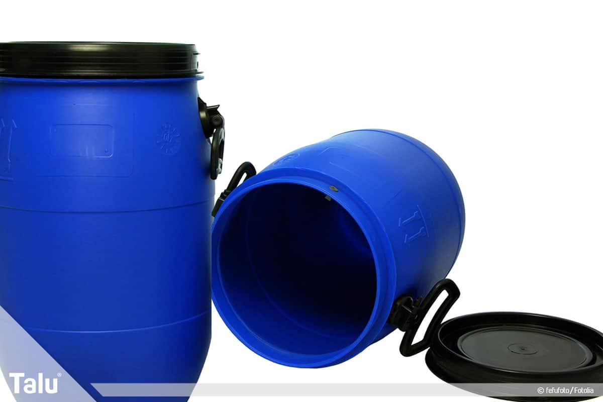 Regenwasser für Toilette und Waschmaschine benutzen, Regentonnen beschaffen