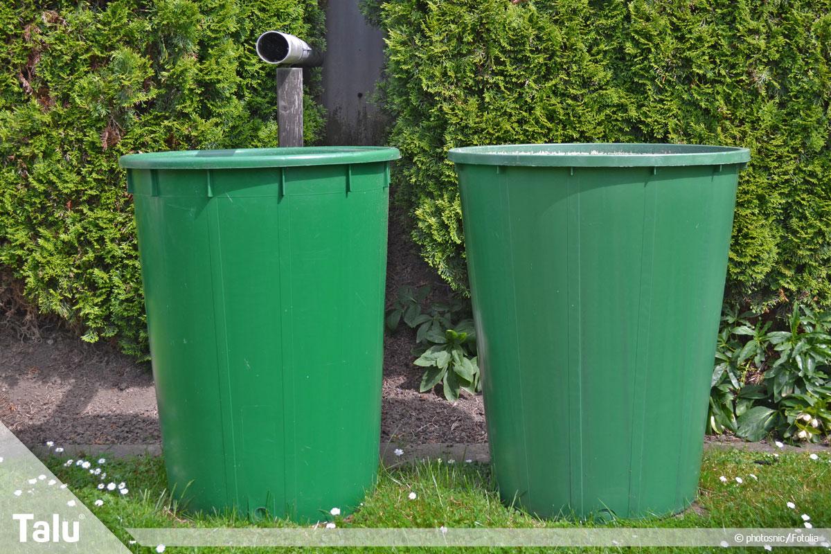Regenwasser für Toilette und Waschmaschine benutzen, Regentonnen im Garten aufstellen