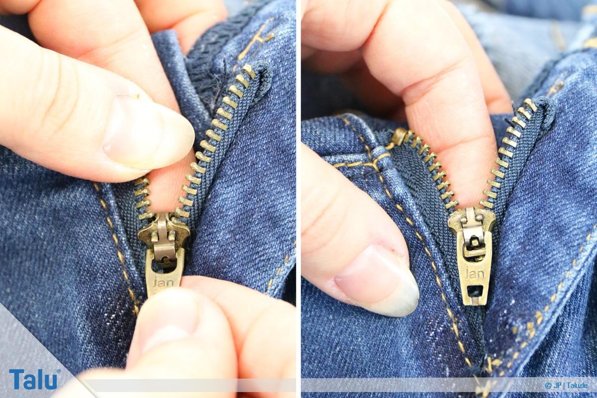 Reißverschluss-Zipper einfädeln, Anleitung, weitere Schritte