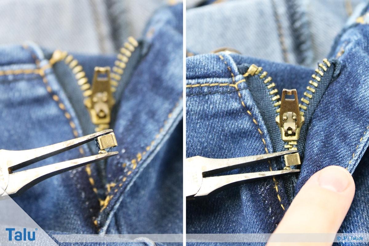 Reißverschluss-Zipper einfädeln, Anleitung, Klammer wieder anbringen