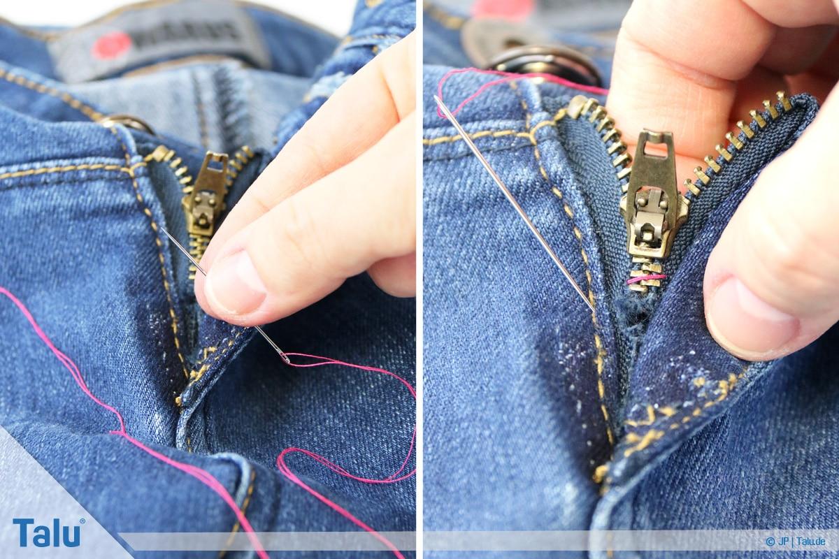 Reißverschluss-Zipper einfädeln, Anleitung, Naht als Stopp nähen