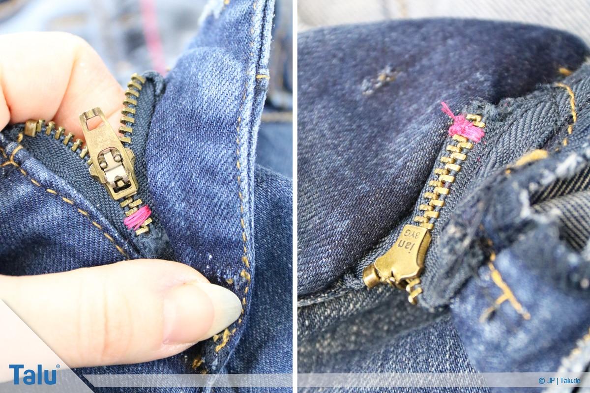 Reißverschluss-Zipper einfädeln, Anleitung, genähte Naht