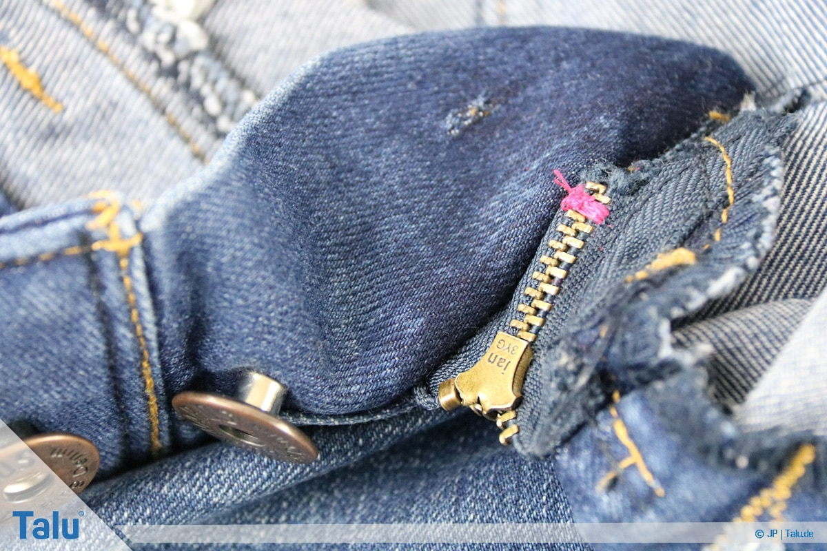 Reißverschluss-Zipper einfädeln, Anleitung, genähte Naht Rückansicht