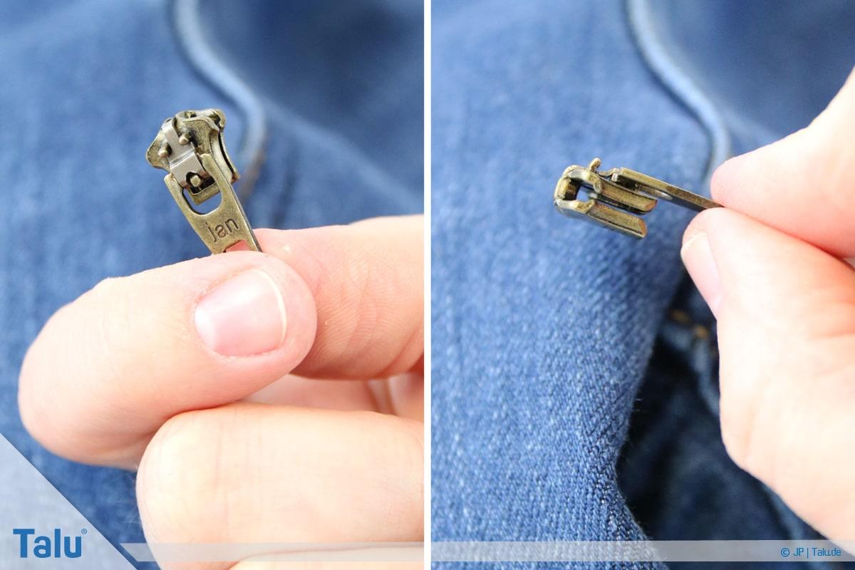 Reißverschluss-Zipper einfädeln, Anleitung, neuer Zipper