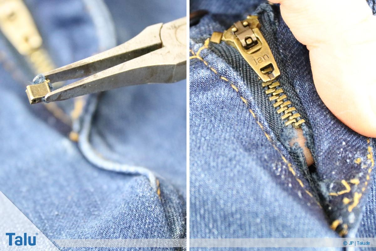 Reißverschluss-Zipper wieder einfädeln, Klammer entfernen