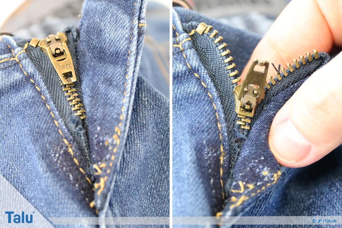 Reißverschluss-Zipper wieder einfädeln, Zipper entfernen