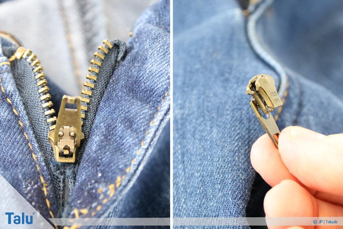 Reißverschluss-Zipper wieder einfädeln, entfernter Zipper