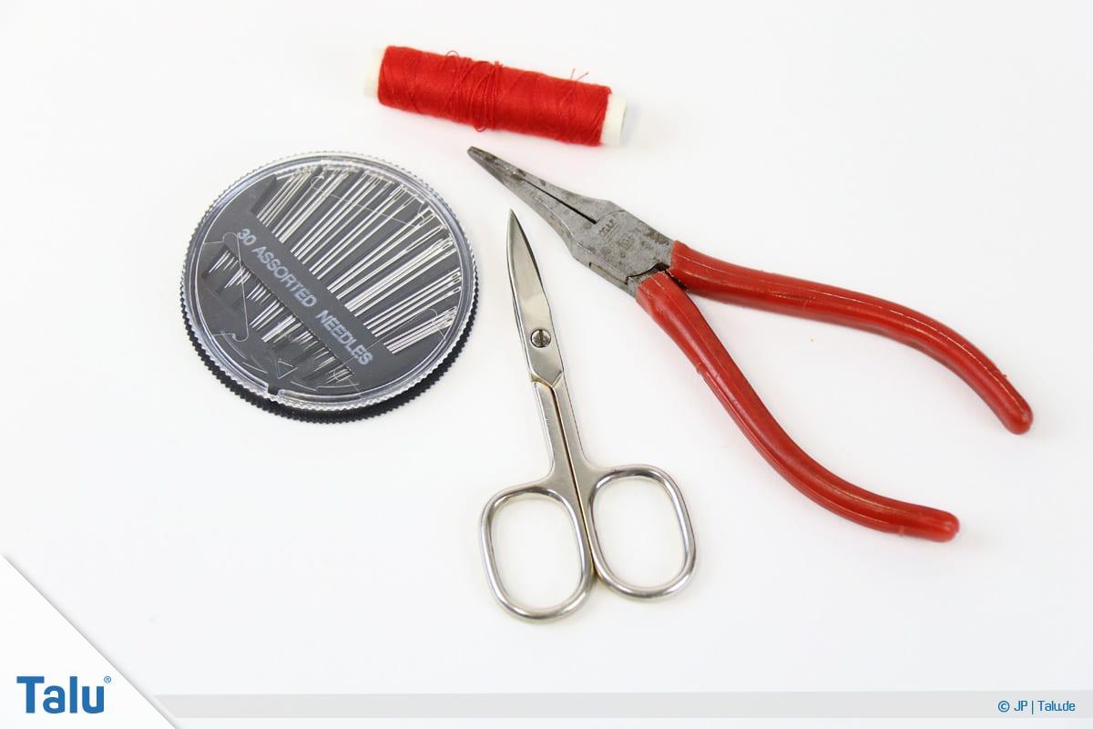 Reißverschluss-Zipper wieder einfädeln, Material und Werkzeug