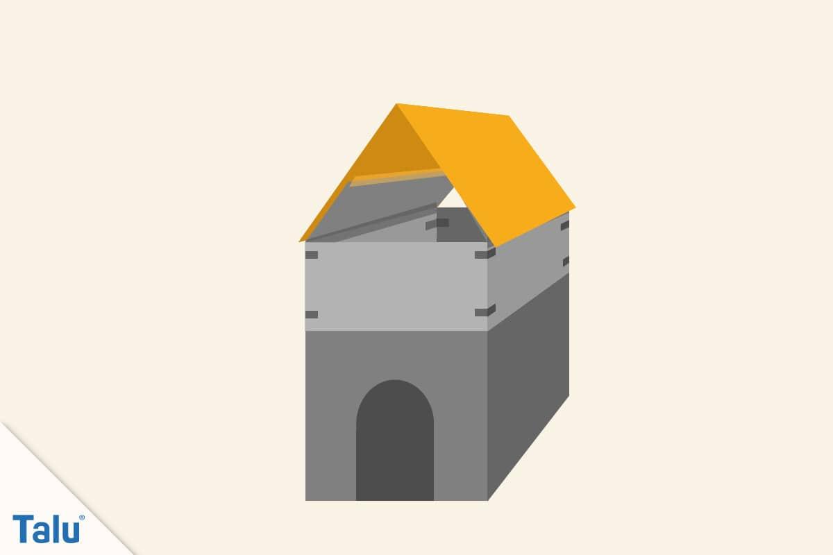 Spielhaus aus Pappe bauen, Dach an Karton ankleben