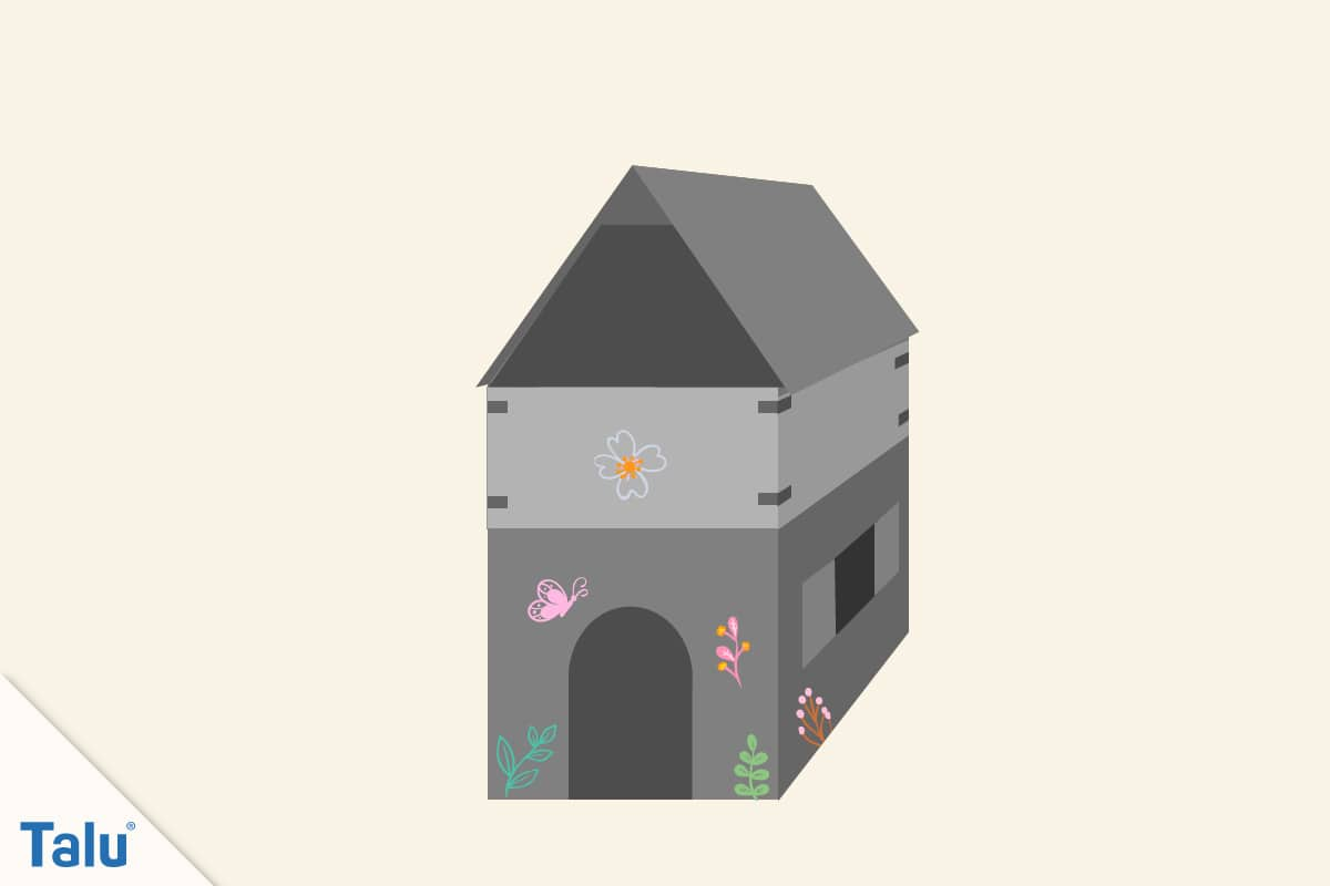 Spielhaus aus Pappe bauen, Papphaus dekorieren