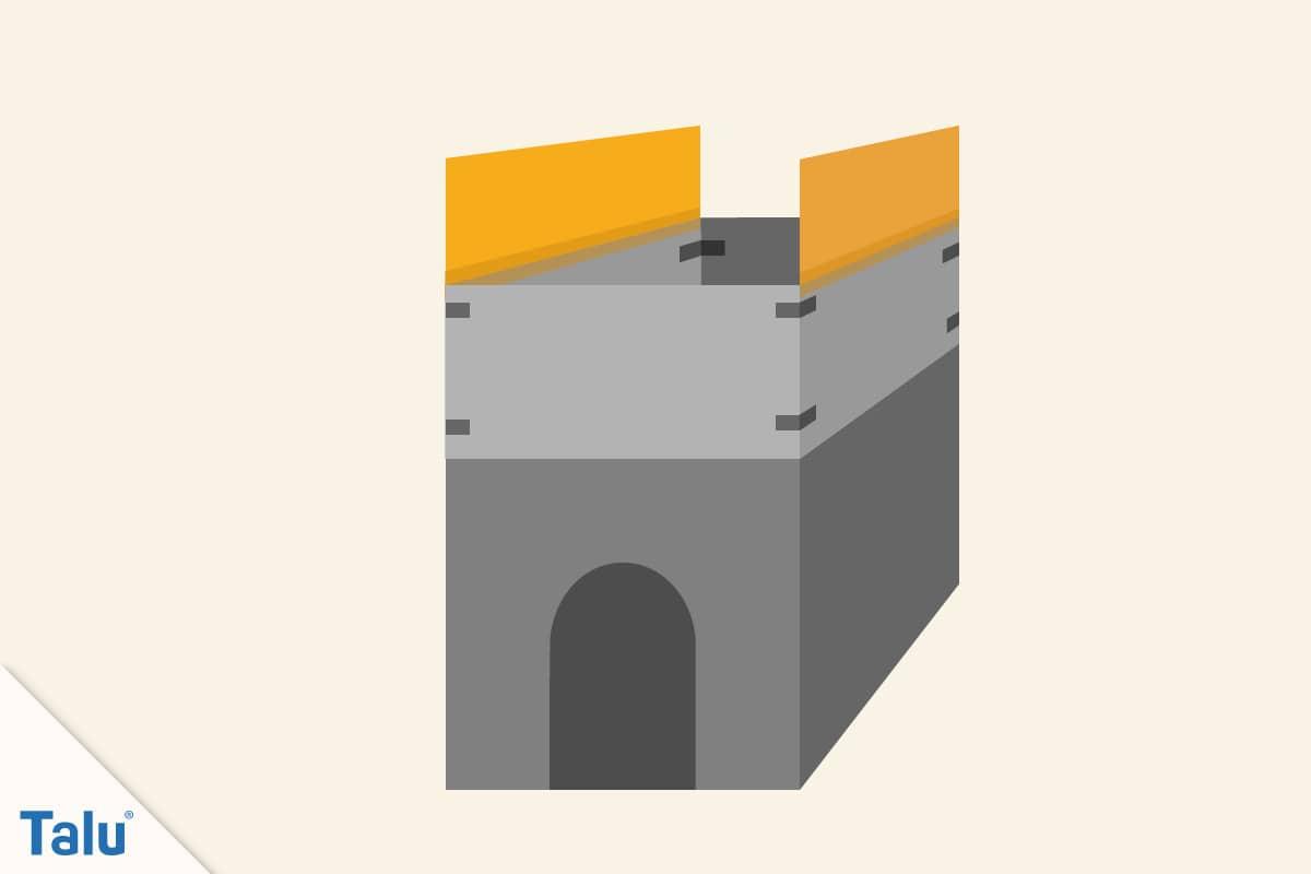 Spielhaus aus Pappe bauen, weitere Pappteile ankleben