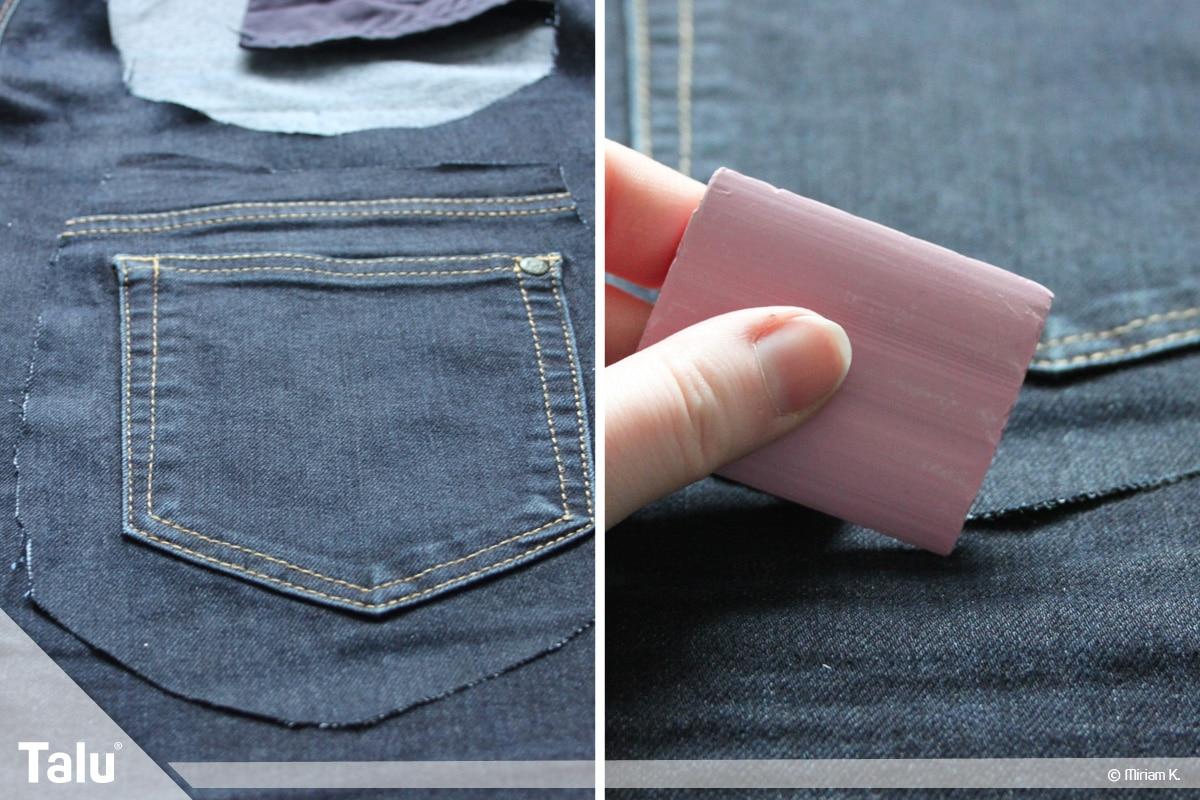 Upcycling Jeans, Handytasche nähen und Hosentaschen herausschneiden