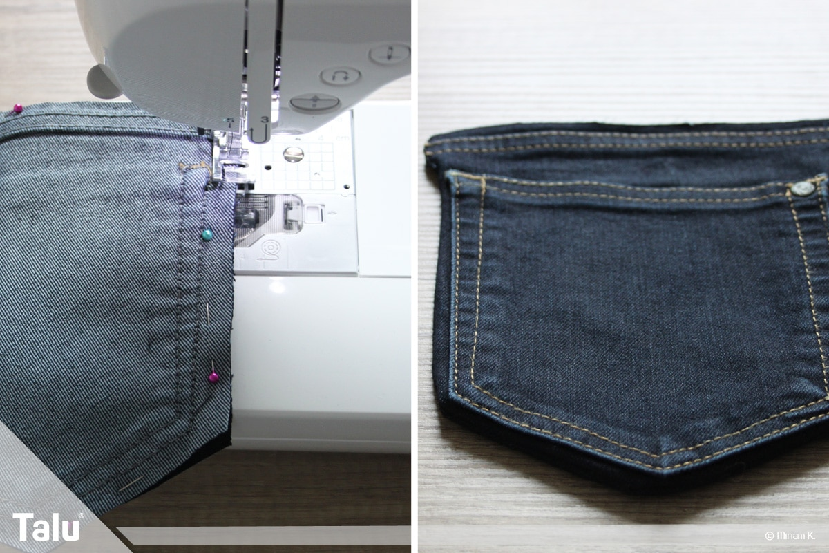 Upcycling Jeans, Handytasche nähen, weitere Schritte