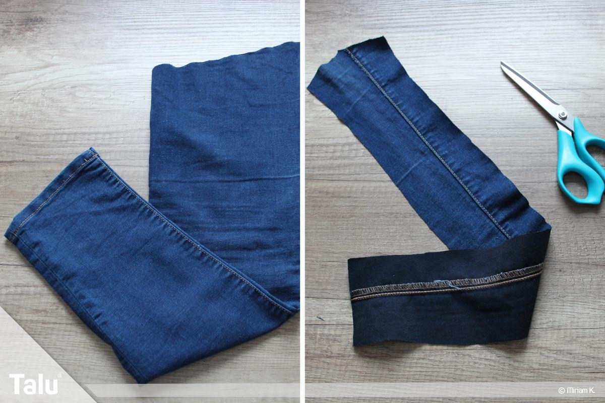 Upcycling Jeans, Tasche nähen, Tragegurt fertigen