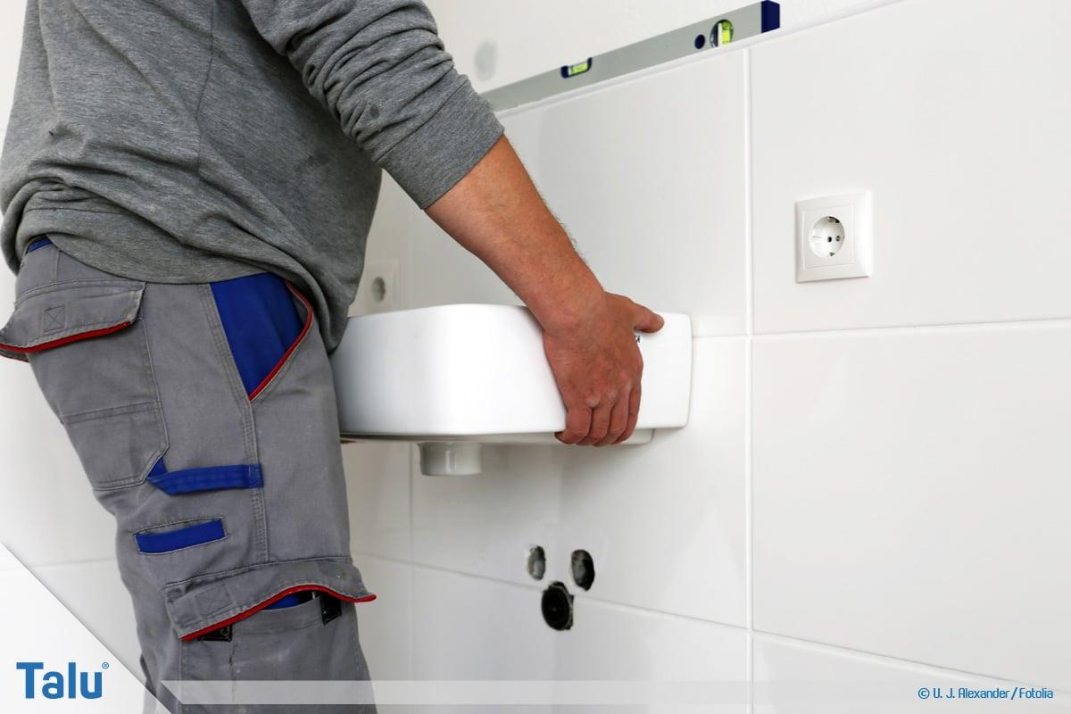 Waschbecken montieren, DIN-Norm-Werte