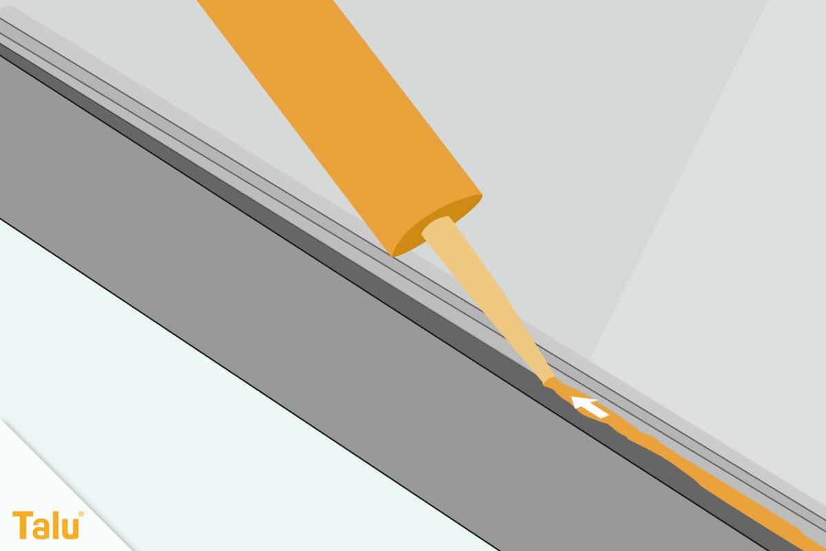 Fensterrahmen abdichten, Silikon-Dichtungsmasse aufbringen