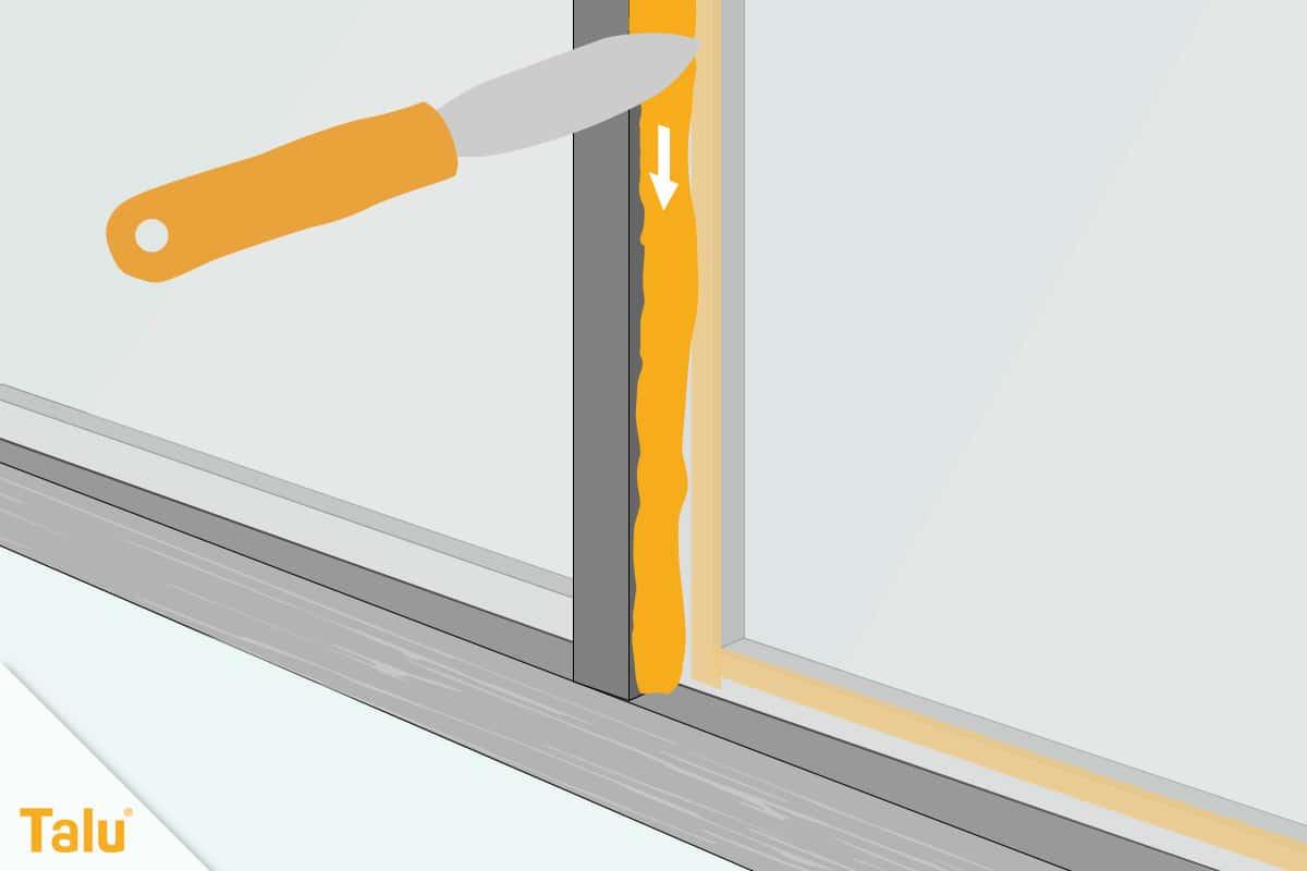 Fensterrahmen abdichten, Fensterkitt aufbringen