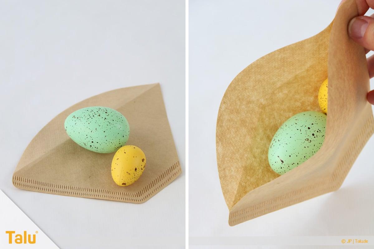 Oster basteln, Osterhase aus Filtertüte, Kaffeefilter befüllen