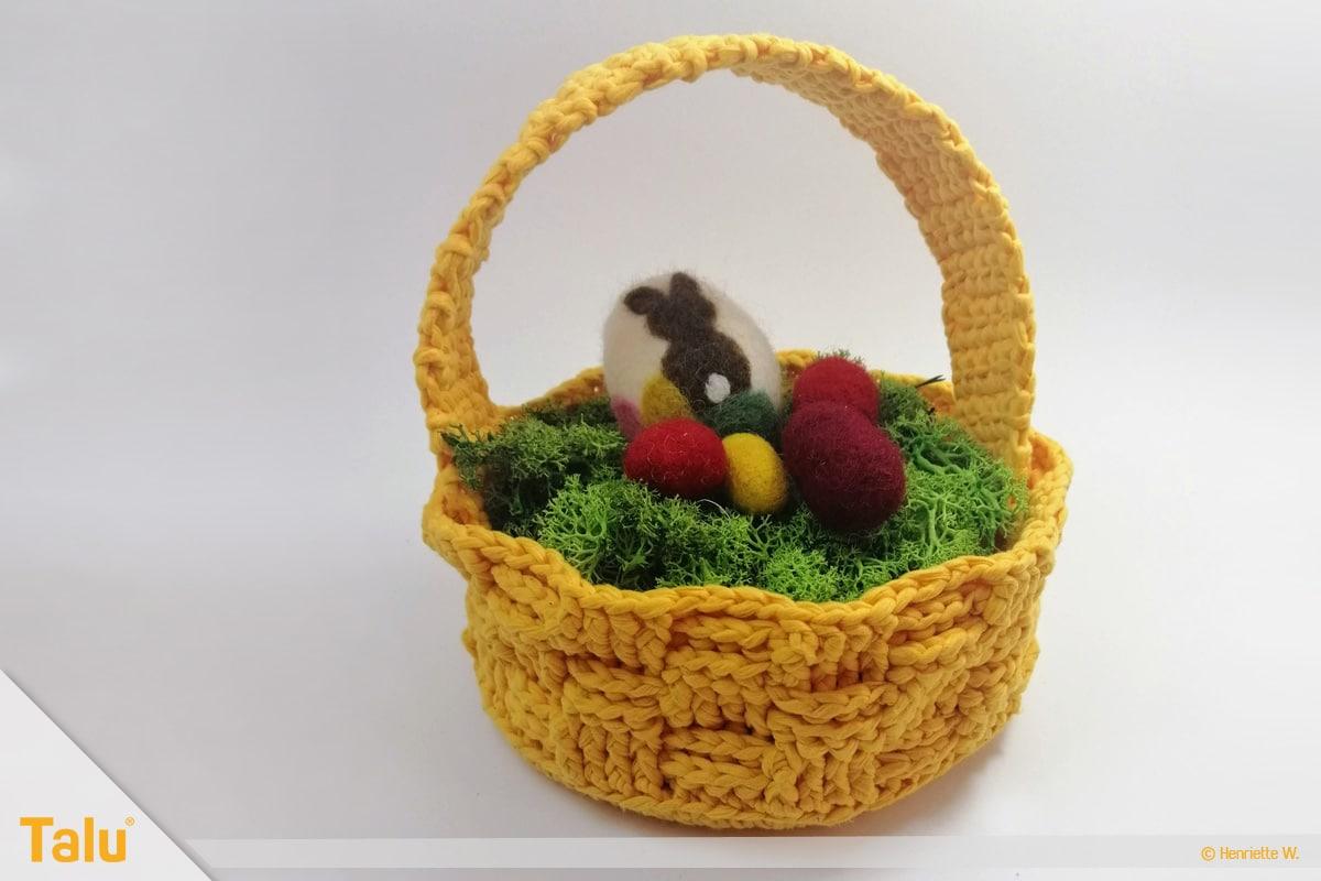 Osterkörbchen häkeln, Korb einfarbig, fertig gehäkelt