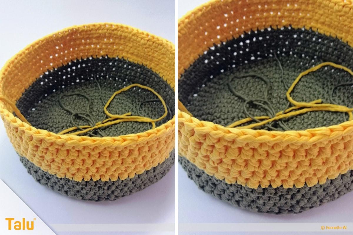 Osterkörbchen häkeln, Korb zweifarbig, mit gelbem Garn weiter häkeln