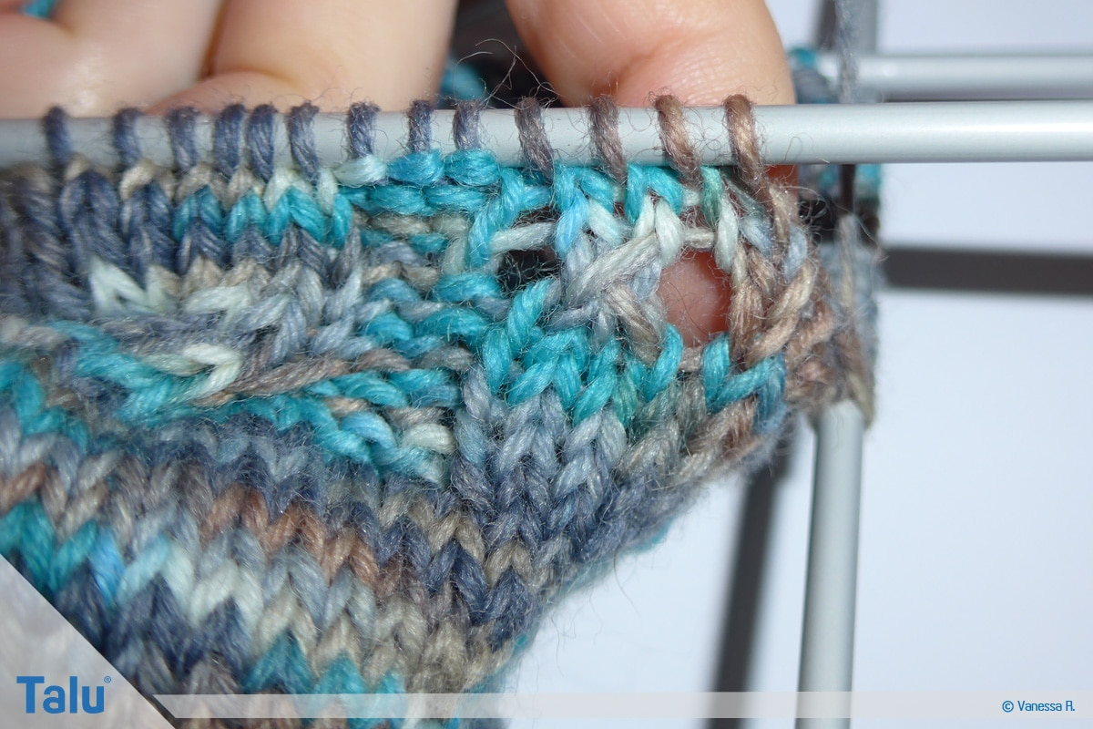 Socken mit Muster stricken, Musterrunde