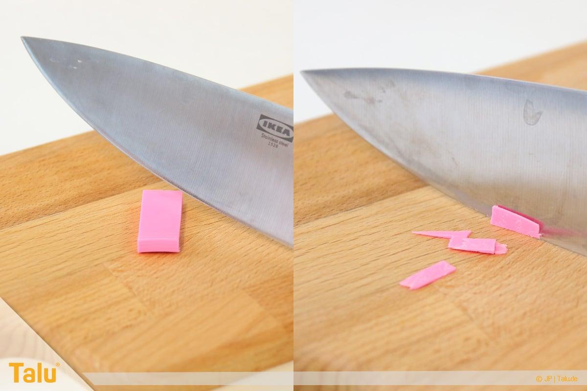 Trockenes FIMO wieder weich machen, FIMO-Knete mit Messer dünn schneiden