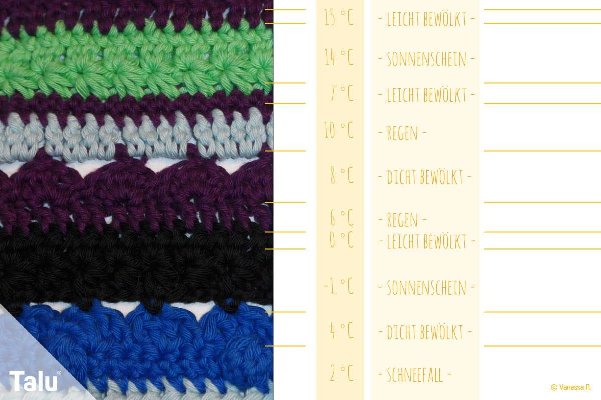 Wetterdecke häkeln, Jahresdecke, verschiedene Wollfarben für Maximaltemperaturen