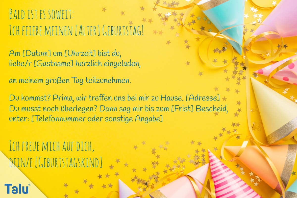 Einladungstext für Kindergeburtstag, Text-Variante 1