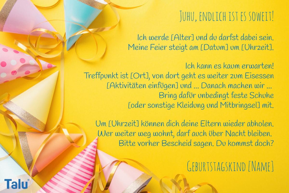 Einladungstext für Kindergeburtstag, Text-Variante 2