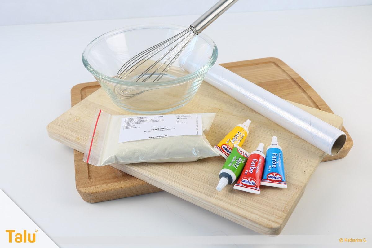 Essbarer Glitzer, Glitzerpulver, Variante aus Gummar, Material