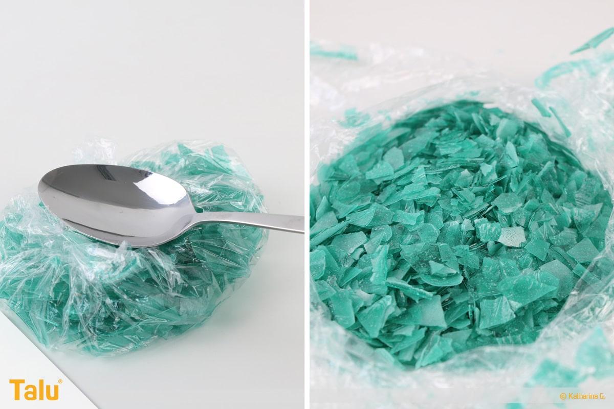Essbarer Glitzer, Glitzerpulver, Variante aus Gummar, zerkleinerter Glitzer